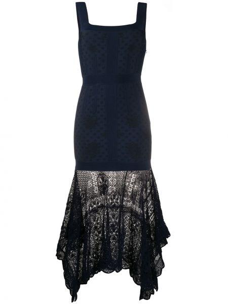 Платье миди с рукавами с вырезом Alexander Mcqueen