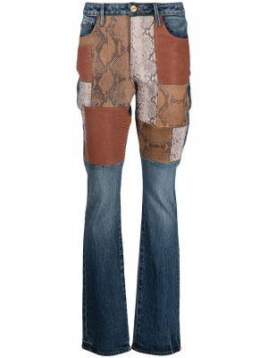 Синие джинсы с высокой посадкой пэчворк Frame