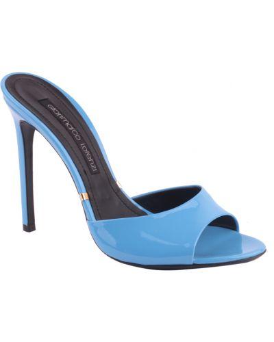Голубые шлепанцы на каблуке Gianmarco Lorenzi