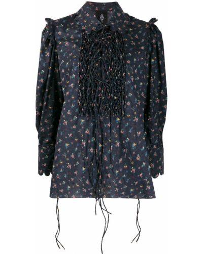 Плиссированная классическая блузка с длинным рукавом с воротником золотая Horror Vacui