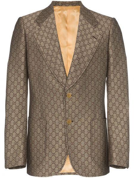 Костюмный коричневый прямой пиджак на пуговицах Gucci