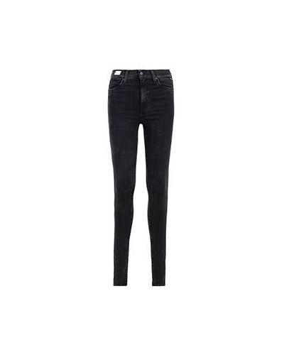 Хлопковые зауженные черные джинсы-скинни Replay