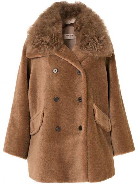 Коричневое шерстяное длинное пальто двубортное Yves Salomon Meteo
