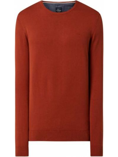Prążkowany pomarańczowy sweter bawełniany S.oliver Red Label