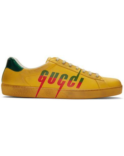Skórzany zielony skórzane sneakersy na sznurowadłach okrągły Gucci