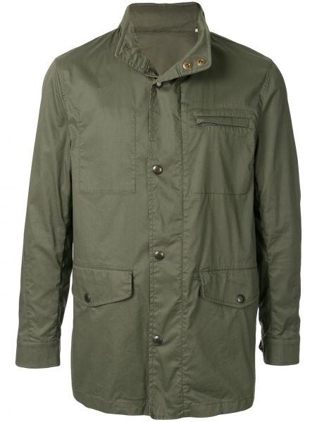 Długa kurtka khaki bawełniana z długimi rękawami Kent & Curwen