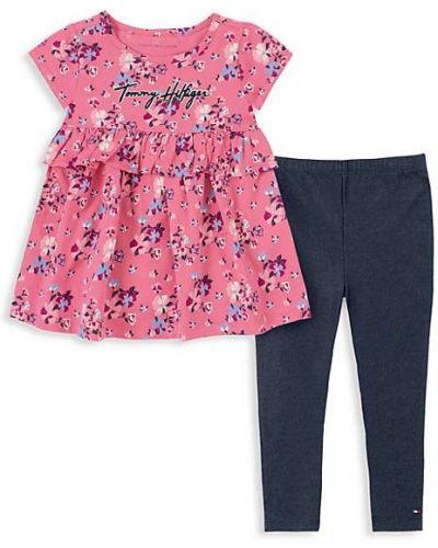 Różowe legginsy z haftem bawełniane Tommy Hilfiger
