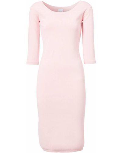 Розовое платье с вырезом в рубчик Burberry