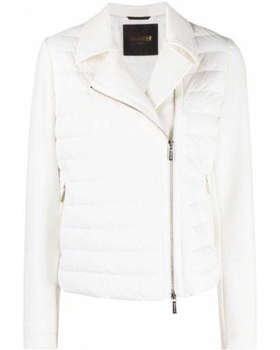 Пуховая белая стеганая длинная куртка Moorer