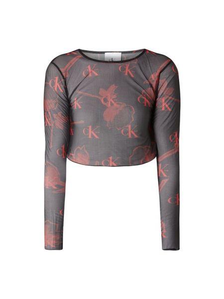 Włókienniczy czarny bluzka z dekoltem wąskie cięcie Calvin Klein Jeans