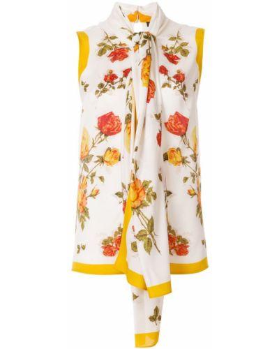Блузка с цветочным принтом на кнопках Alexander Mcqueen