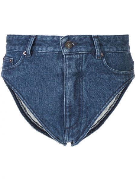 Темно-синие джинсовые шорты с карманами со стразами Y/project
