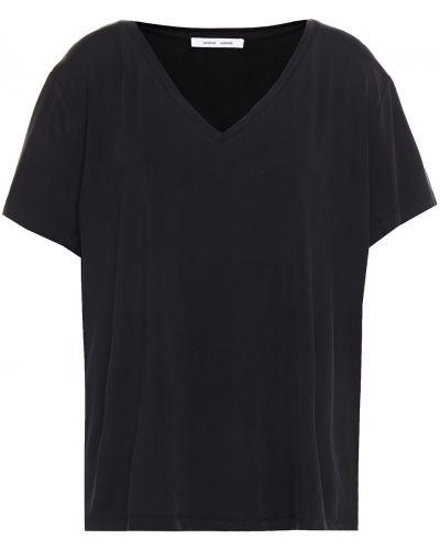 Трикотажная черная футболка стрейч SamsØe Φ SamsØe