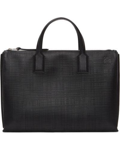 Черный кожаный портфель с карманами Loewe