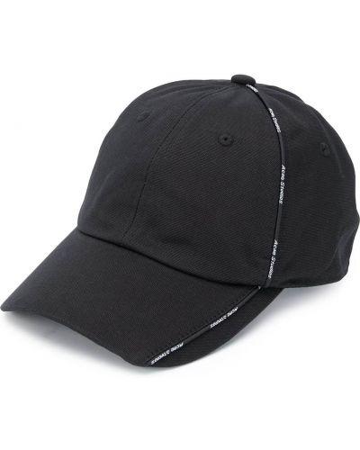 Czarna czapka bawełniana Acne Studios