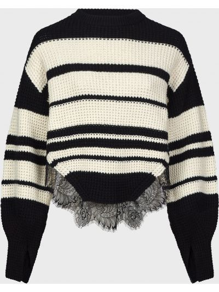 Черный ажурный шерстяной свитер Self-portrait