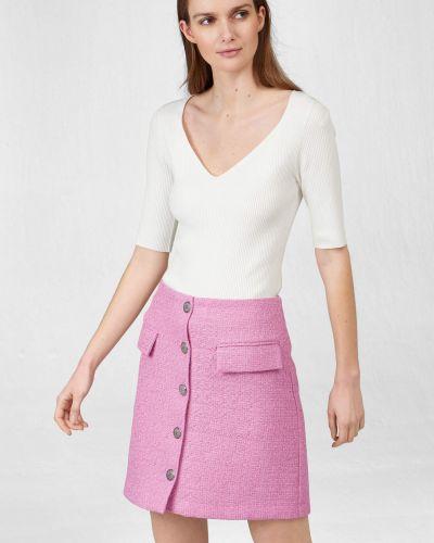 Fioletowa spódnica wełniana zapinane na guziki Orsay