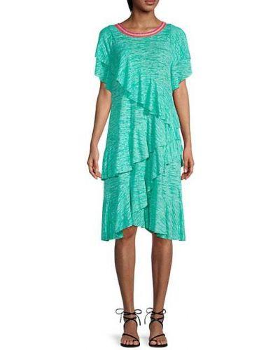 Платье с короткими рукавами с оборками мятное Pitusa