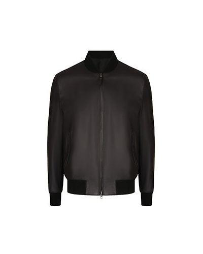 Черная кожаная куртка Brioni