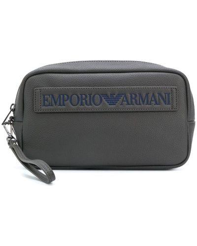 Серая косметичка кожаная Emporio Armani