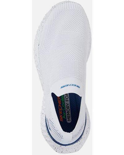 Белые слипоны эластичные Skechers