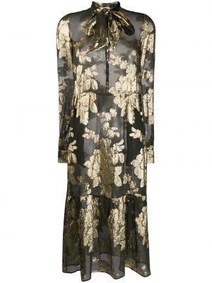 Платье миди на пуговицах прозрачное с воротником с бантом Saint Laurent