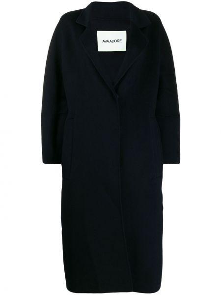 Синее шерстяное длинное пальто с поясом Ava Adore