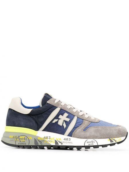 Серые нейлоновые кроссовки на каблуке с заплатками Premiata