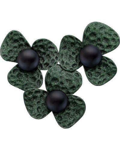 Серебряная брошь с камнями черная De Fleur