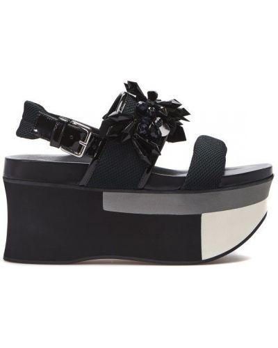 Черные сандалии на танкетке Marni
