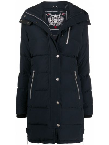 Синее пуховое пальто классическое с капюшоном Moose Knuckles
