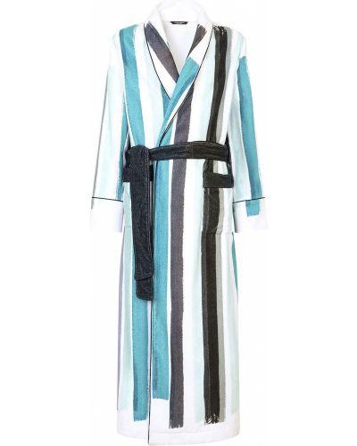 Niebieski długi szlafrok bawełniany z długimi rękawami Dolce And Gabbana