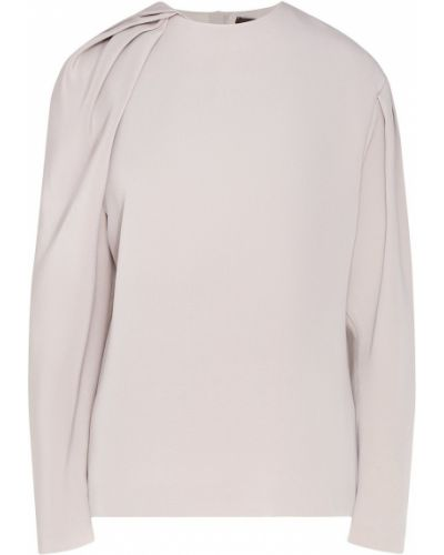 Бежевая шелковая блузка с драпировкой Chapurin
