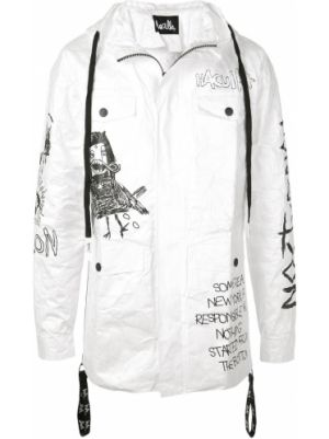 Biała kurtka z kapturem z printem Haculla