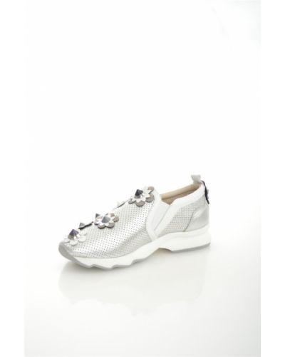 Серые кожаные кроссовки на платформе Just Couture