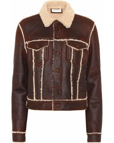 Кожаная куртка утепленная бушлат Saint Laurent