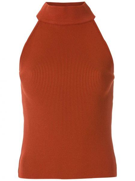 Хлопковая красная блузка без рукавов с воротником узкого кроя Egrey