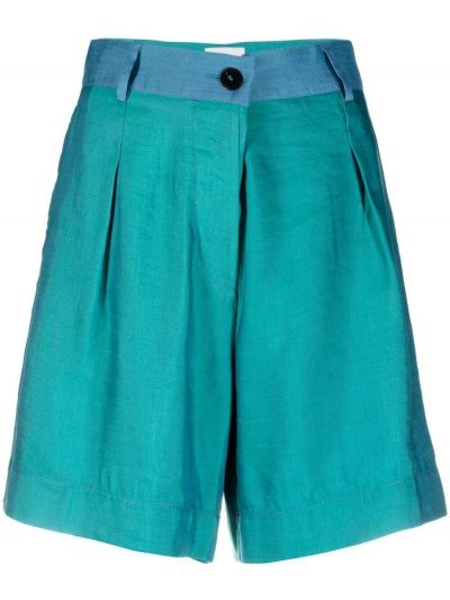 Зеленые хлопковые с завышенной талией шорты Forte Forte
