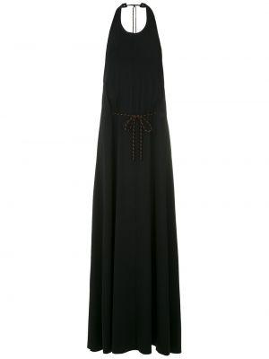 Черное расклешенное платье с открытой спиной с воротом халтер Osklen