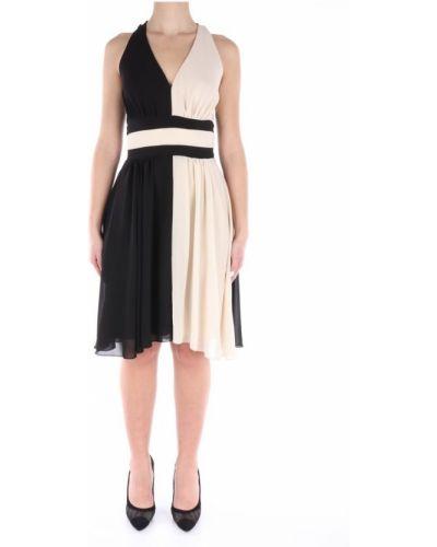 Czarna sukienka midi elegancka asymetryczna Lanacaprina