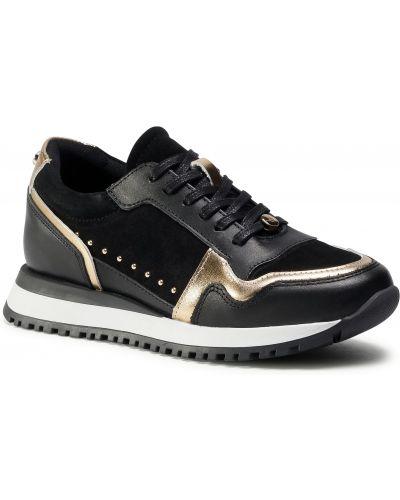 Czarne sneakersy skorzane na co dzień Eva Longoria