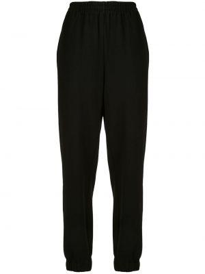 Хлопковые черные спортивные брюки с поясом с высокой посадкой Sir.