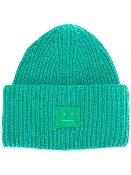 Prążkowana zielona czapka wełniana Acne Studios