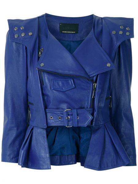 Синяя кожаная куртка Andrea Bogosian