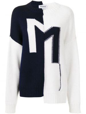 Асимметричный синий шерстяной длинный свитер Monse