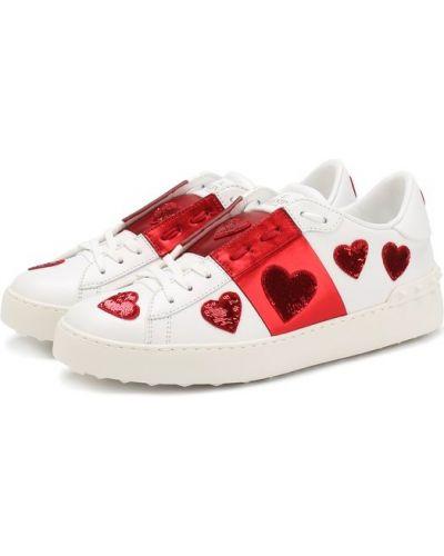 Красные кеды кожаные Valentino