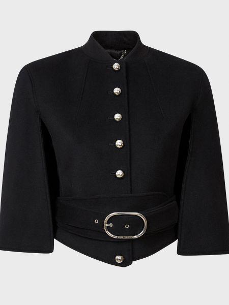 Шерстяной черный пиджак с поясом Paco Rabanne