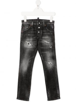 Кожаные серые джинсы на пуговицах Dsquared2 Kids