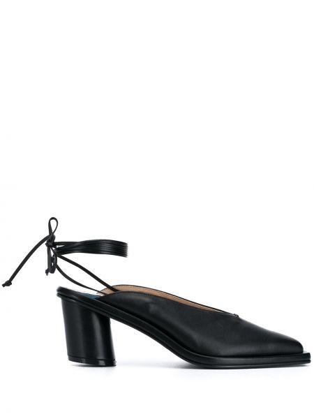 Черные туфли-лодочки с квадратным носком из овчины квадратные Reike Nen
