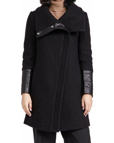 Шерстяное черное длинное пальто с воротником Club Monaco